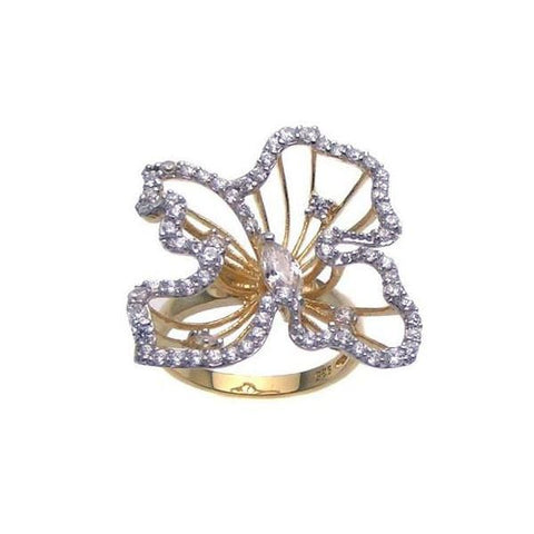 .925 Sterling Silver Gold Plated Cubic Zirconia Open Flower Ring