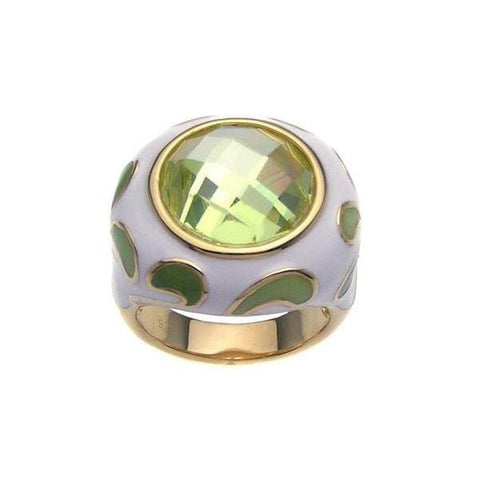 .925 Sterling Silver Gold Plated Green  White Enamel Yellow Cubic Zirconia Ring