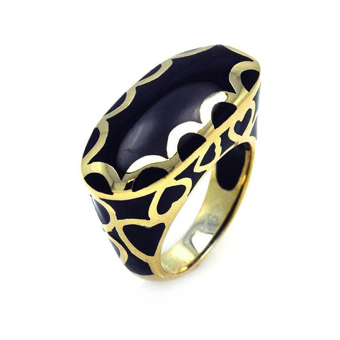 .925 Sterling Silver Gold Plated Black Enamel Heart Ring