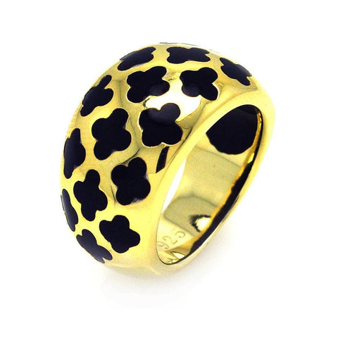 .925 Sterling Silver Gold Plated Black Enamel Clover Ring