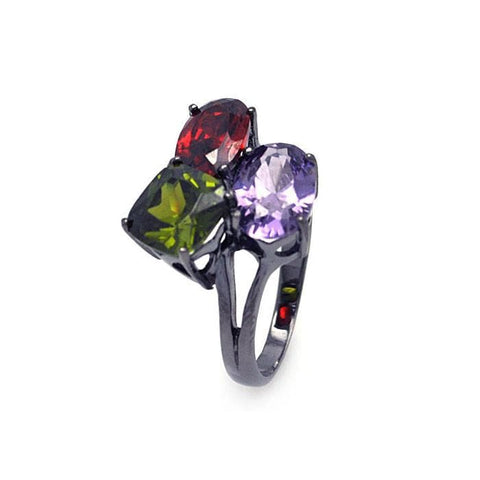 .925 Sterling Silver Dark Rhodium Plated Green  Red  Purple Cubic Zirconia Ring - AnaDx Collection