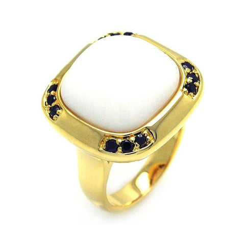 .925 Sterling Silver Gold Plated White Center Stone Black Cubic Zirconia Ring