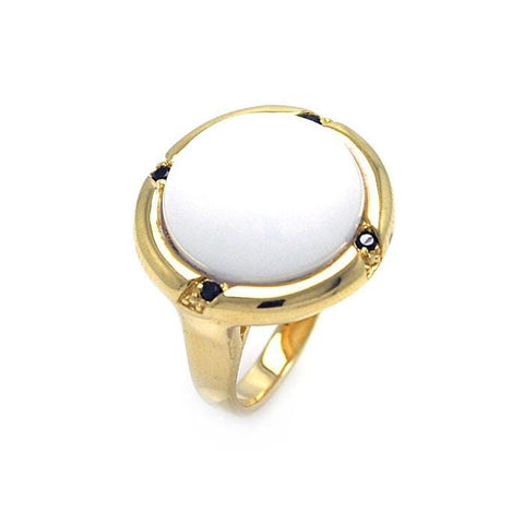 .925 Sterling Silver Gold Plated White Stone Center Black Cubic Zirconia Ring