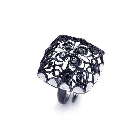 .925 Sterling Silver Black Rhodium Plated Clear Cubic Zirconia Flower Ring - AnaDx Collection