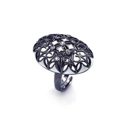 .925 Sterling Silver Black Rhodium Plated Clear Cubic Zirconia Oval Flower Ring - AnaDx Collection