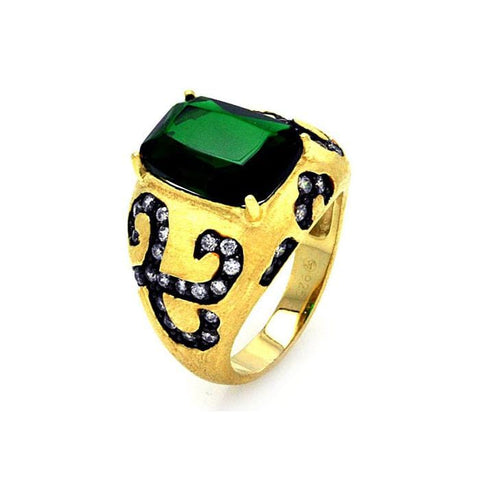 .925 Sterling Silver Black Rhodium Gold Plated Green Center   Clear Cubic Zirconia Cigar Band Ring - AnaDx Collection