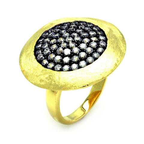 .925 Sterling Silver Black Rhodium Gold Plated Pave Set Clear Cubic Zirconia Circle Ring - AnaDx Collection