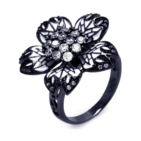 .925 Sterling Silver Black Rhodium Plated White Enamel Pave Set Clear Cubic Zirconia Flower Ring - AnaDx Collection