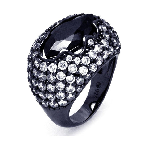 .925 Sterling Silver Black Rhodium Plated Black Center Pave Set Clear Cubic Zirconia Cigar Band Ring - AnaDx Collection