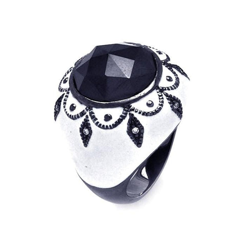 .925 Sterling Silver Black Rhodium Plated White Enamel Black Center Clear Cubic Zirconia Cigar Band Dome Ring - AnaDx Collection
