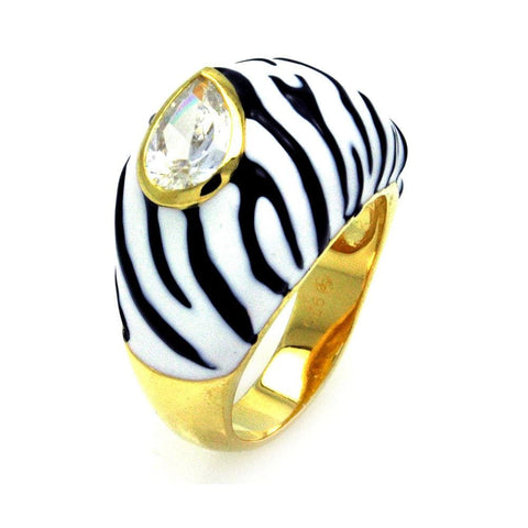 .925 Sterling Silver Gold Plated  Black White Enamel Clear Pear Cubic Zirconia Zebra Stripe Dome Ring