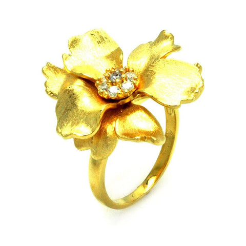 .925 Sterling Silver Gold Plated Matte Finish Clear Cubic Zirconia Flower Ring