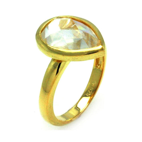 .925 Sterling Silver Gold Plated Clear Teardrop Cubic Zirconia Ring