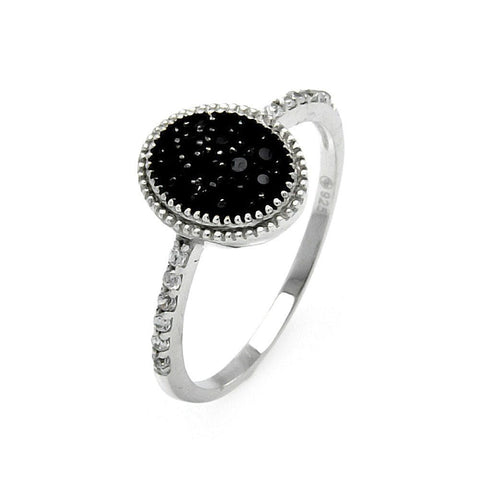 .925 Sterling Silver Black Silver Rhodium Plated Round Oval Circle Cubic Zirconia Ring - AnaDx Collection
