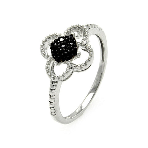 .925 Sterling Silver Black Silver Rhodium Plated Black   Clear Cubic Zirconia Flower Ring - AnaDx Collection