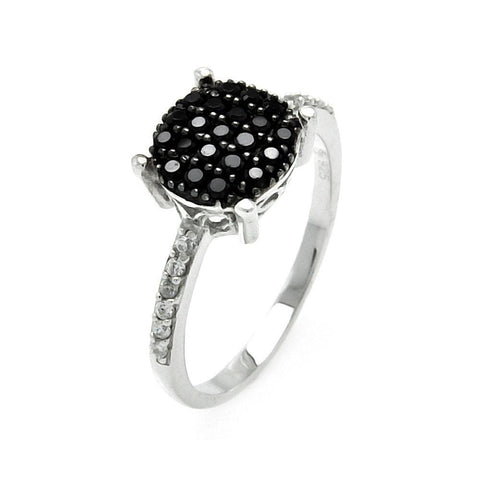 .925 Sterling Silver Black Silver Rhodium Plated Round Black Cubic Zirconia Circle Ring - AnaDx Collection