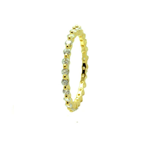 .925 Sterling Silver Gold Plated Clear Cubic Zirconia Stackable Eternity Ring