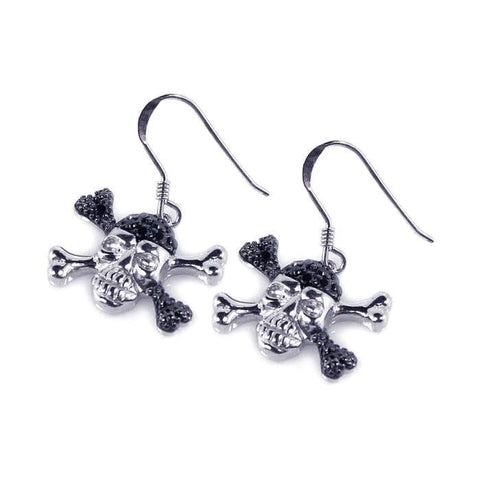 .925 Sterling Silver Black &  Silver Rhodium Plated  Pirate Skull Cubic Zirconia Dangling Hook Earring - AnaDx Collection