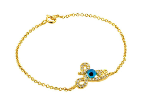 .925 Sterling Silver Gold Plated Evil Eye Love Cubic Zirconia Bracelet: SOD