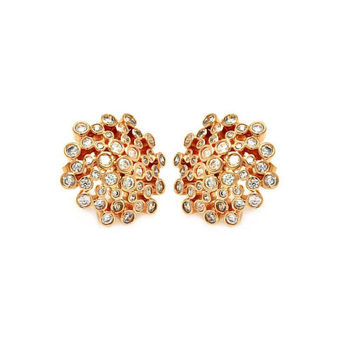 .925 Sterling Silver Gold Rhodium Plated Coral Rose Sun  Cubic Zirconia Stud Earring: SOD