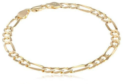 14k Yellow Gold Men's 8.5mm Figaro 3+1 Concave Solid Chain Bracelet with Lobster Claw Clasp - 8.5""""