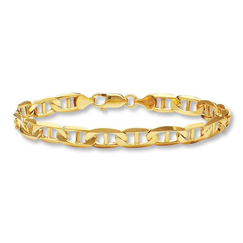 14k Yellow Gold Solid Men's 6.5mm Flat Mariner Chain Bracelet with Lobster Claw Clasp - 8""""