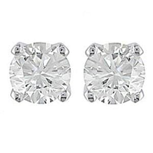 1/2 Carat Diamond 14k White Gold Stud Earrings: