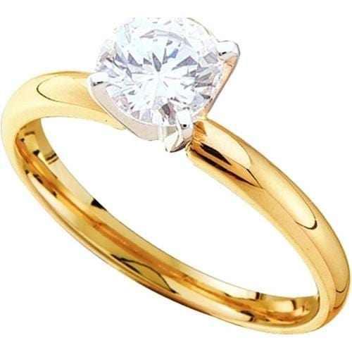 14k Yellow Two Tone 0.25Ctw Round Diamond  Solitaire Ring                    . (Excel)