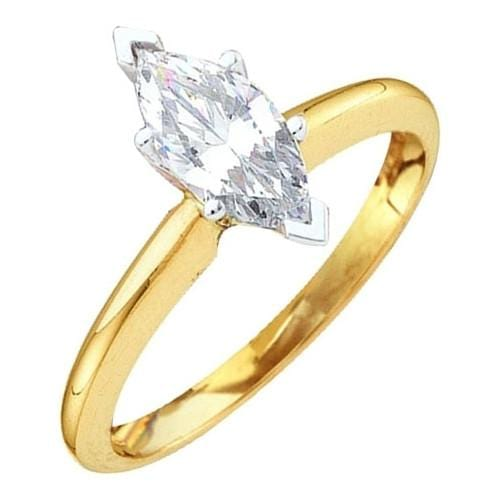 14k Yellow Two Tone 1/3Ct-(Exce) Marqui Diamond Ring