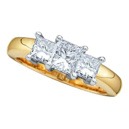 14k Yellow Two Tone 0.25Ctw Princess 3 Stone Ring