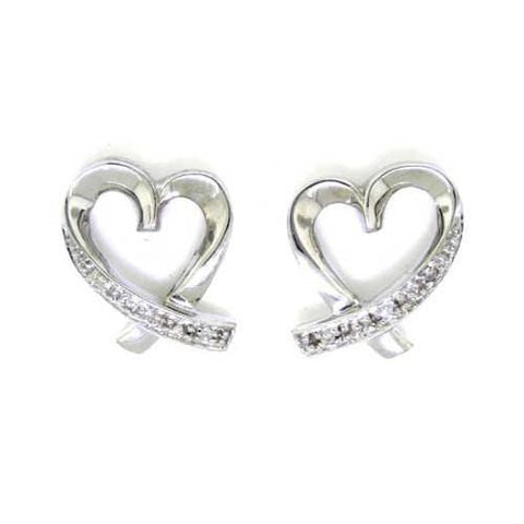 10k White Gold 0.02Ctw Round Diamond Ladies Fashion Heart Earrings: Earrings