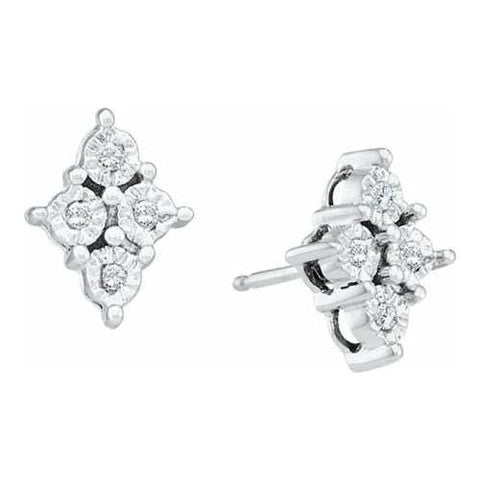 10k White Gold 0.06Ctw Diamond Cluster Earrings: Earrings