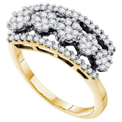 14k Yellow Two Tone 0.51Ct Diamond Flower Wedding Ring Band