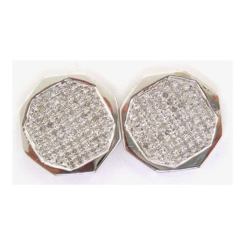 10k White Gold 0.15Ctw Round Micro Pave Diamond Mens Earrings: Earrings