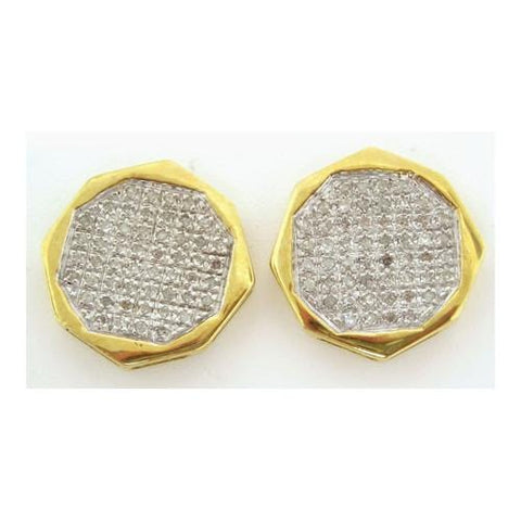 10k Yellow Gold 0.33Ctw Round Micro Pave Diamond Mens Earrings: Earrings