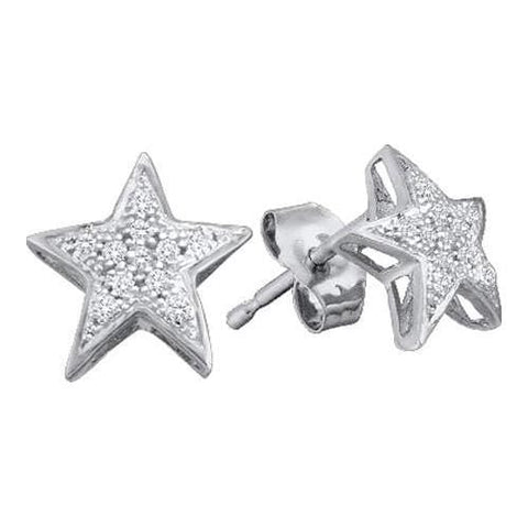 10k White Gold 0.05Ctw Diamond Micro Pave Star Earrings: Earrings