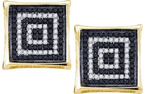 Men's10K Yellow Gold 0.50 Ctw Diamond Micro Pave Stud Earrings 2.87g: Earrings