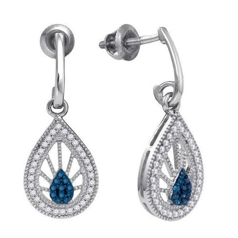 10k White Gold 0.25Ct Black Diamond Fashion Earring: Earrings