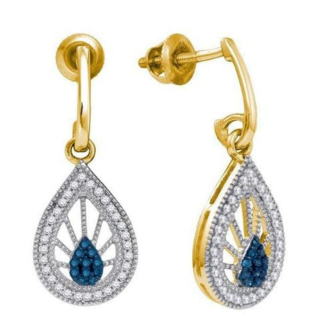 10k Yellow Gold 0.25Ct Blue Diamond Fashion Earring: Earrings