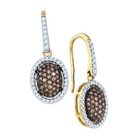 10k Yellow Gold 0.76Ctw Cognac Diamond Fashion Earring: Earrings