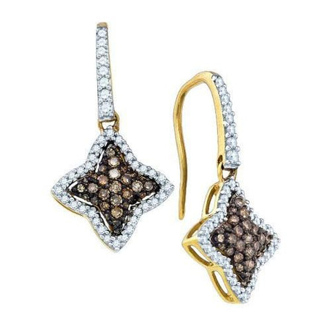 10k Yellow Gold 0.64Ct Cognac Diamond Fashion Earring: Earrings
