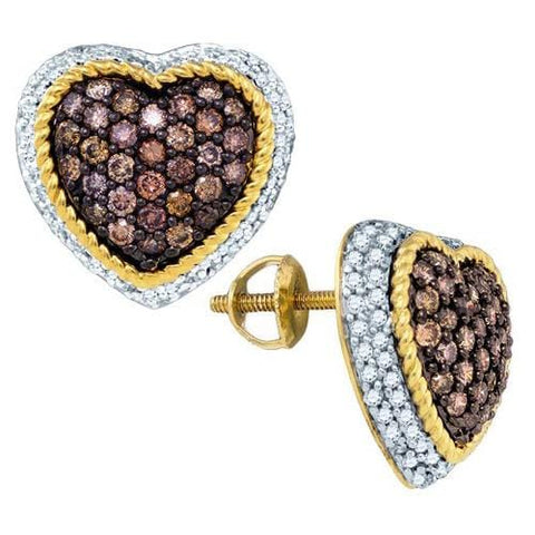 10k Yellow Gold 1.30Ctw Cognac Diamond Heart Earring: Earrings
