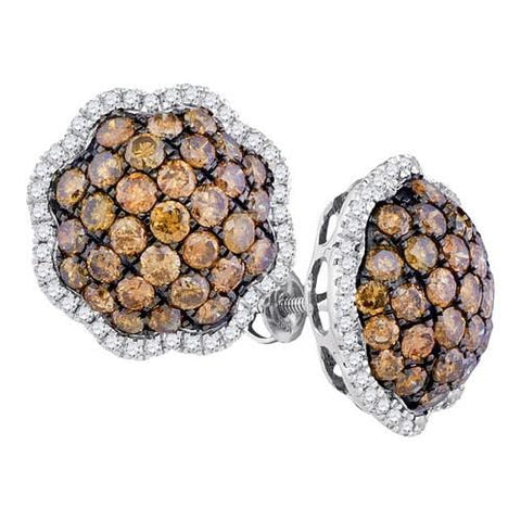 10k White Gold 3.37Ct-Dia Brown Diamond Flower Earring: Earrings
