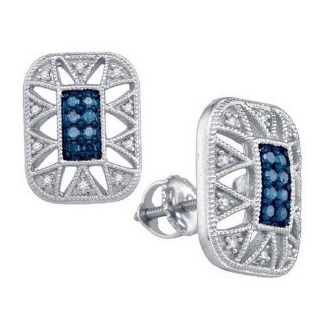 10k White Gold 0.25Ct Blue Diamond Fashion Earrings: Earrings
