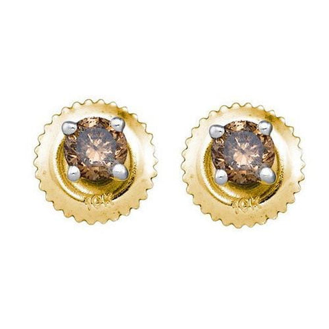 10k Yellow Gold 0.50Ctw Cognac Diamond Stud Earring: Earrings