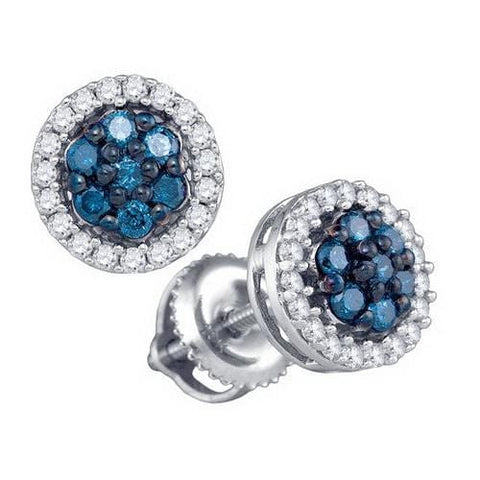 10k White Gold 0.48Ctw Blue Diamond Fashion Earring: Earrings
