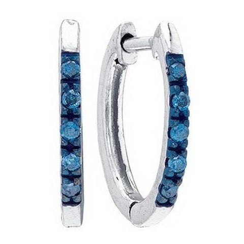.925 Sterling Silver 0.10 ctw Blue Diamond Hoop Earrings - AnaDx Collection