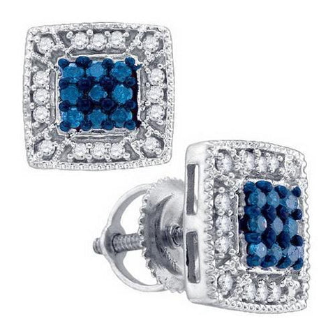 10k White Gold 0.36Ctw Blue Diamond Fashion Earring: Earrings
