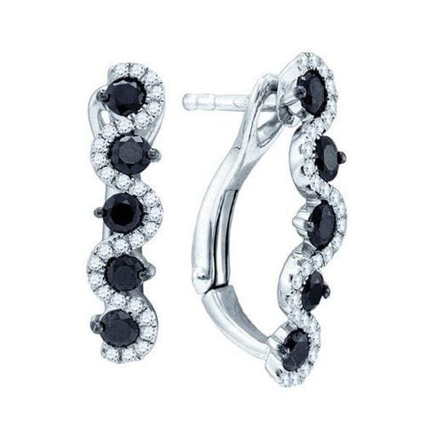 10k White Gold 0.95Ctw Black Diamond Fashion Earring: Earrings