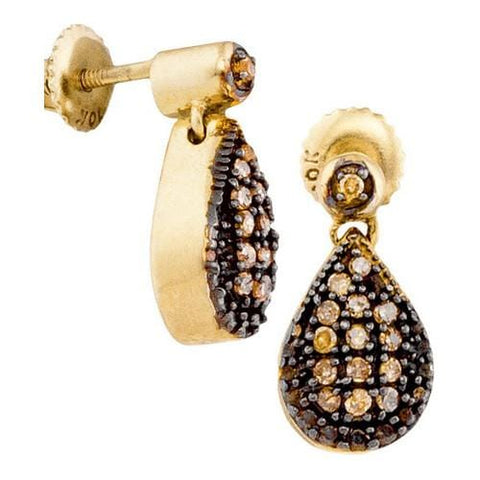 10k Yellow Gold 0.20Ctw-Dia Cognac Earrings: Earrings